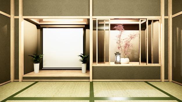 Intérieur de la chambre nihon avec étagère murale design de style japonais lumière cachée rendu 3d