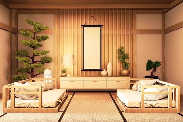 Intérieur de la chambre de style chinois. rendu 3d
