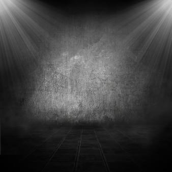 Intérieur de la chambre de style grunge avec des projecteurs qui brillent