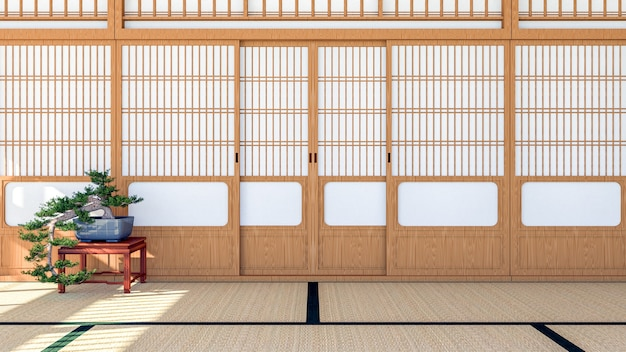 Intérieur de la chambre de style traditionnel japonais vide avec porte coulissante shoji et sol en tatami, rendu 3d