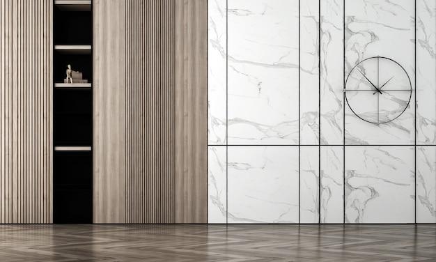 Intérieur de chambre vide confortable moderne maquette, fond de mur en marbre blanc et bois, style scandinave, rendu 3d