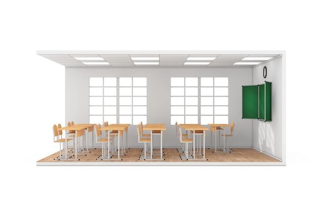 Intérieur de la classe d'école avec grande fenêtre, bureaux d'école, chaises, tableau noir et parquet en bois sur fond blanc. rendu 3d