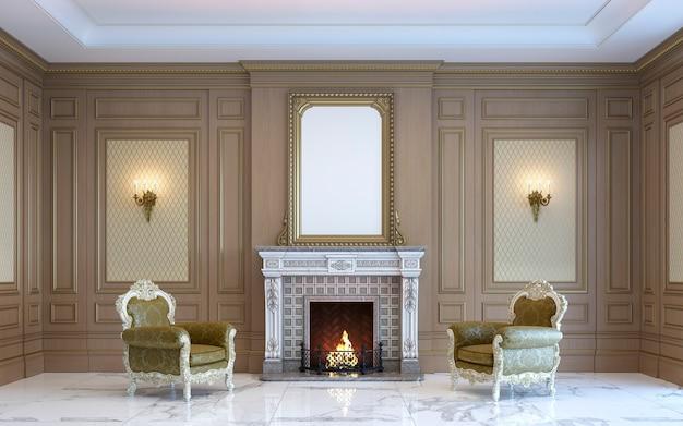 Un intérieur classique avec des boiseries et une cheminée. rendu 3d.
