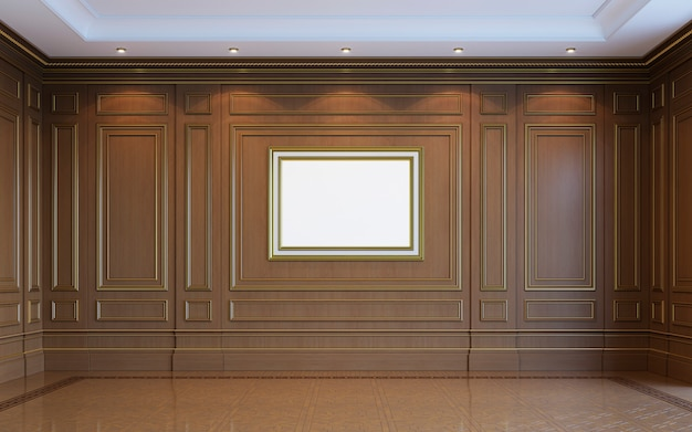 Un intérieur classique avec des boiseries. rendu 3d.
