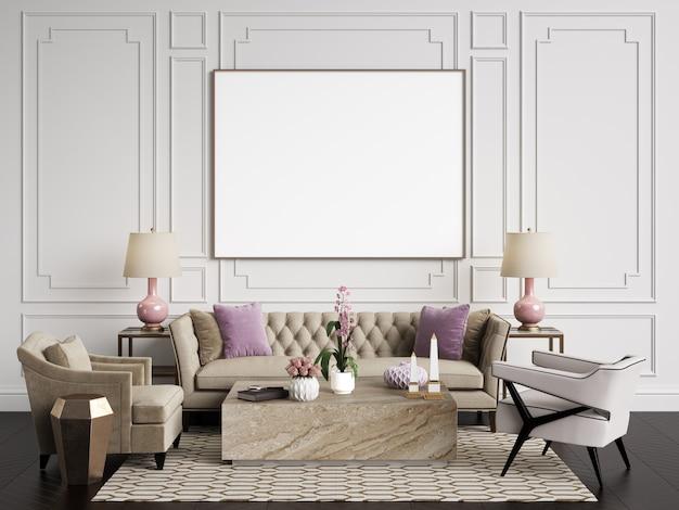 Intérieur classique. canapé, chaises, tables d'appoint avec lampes, table avec décor. murs blancs avec moulures. parquet au sol à chevrons. rendu 3d