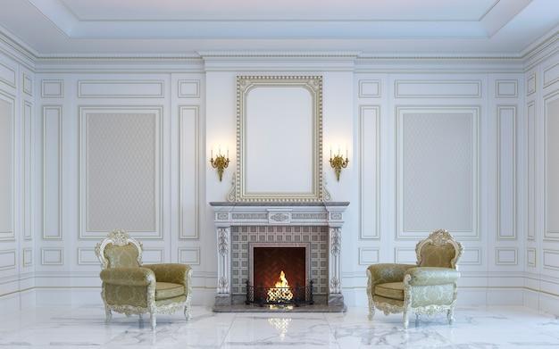 Un intérieur classique est dans des tons clairs avec cheminée. rendu 3d.