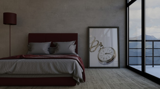Intérieur contemporain de chambre à coucher 3d