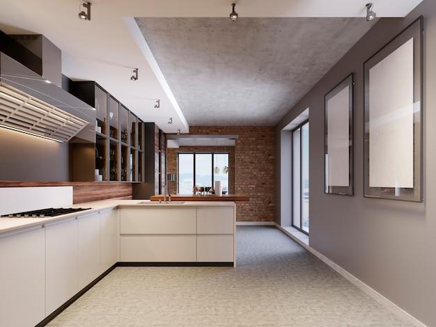Intérieur de cuisine design moderne dans un style contemporain avec mobilier technologique et appareils de cuisine. rendu 3d.