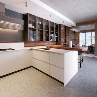 Intérieur de cuisine élégant avec armoires modernes dans une nouvelle maison. design dans un style scandinave. cuisiner. plan de travail, évier et poêle en bois. rendu 3d