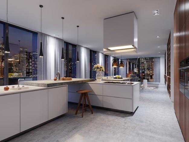 Intérieur de cuisine de luxe avec un îlot en béton, des chaises, une rangée de plans de travail et une fenêtre panoramique. rendu 3d.