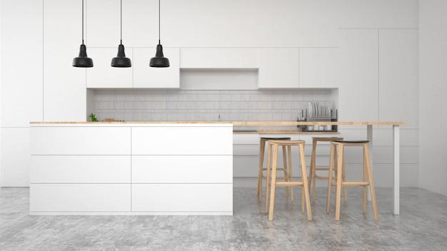 Intérieur de cuisine moderne avec des meubles. rendu 3d