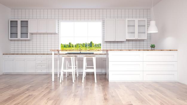 Intérieur de cuisine moderne avec rendu furniture.3d