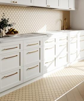 Intérieur de cuisine de rendu 3d avec dosseret en mosaïque beige hexagonal