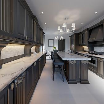 Intérieur de cuisine et salle à manger de style classique aux couleurs noir et blanc, rendu 3d