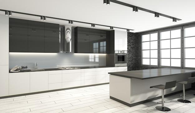 Intérieur de cuisine de style moderne dans des tons noir et blanc avec de grandes fenêtres