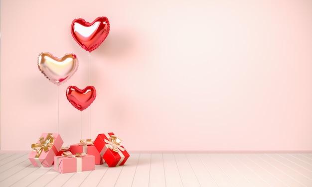 Intérieur dans les tons beiges avec des cadeaux et des ballons en forme de coeur. saint-valentin, illustration de rendu 3d.