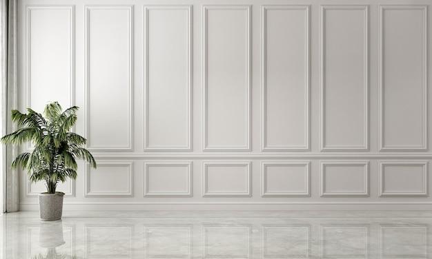 L'intérieur et la décoration simulée et la salle blanche vide et le fond de texture de mur blanc
