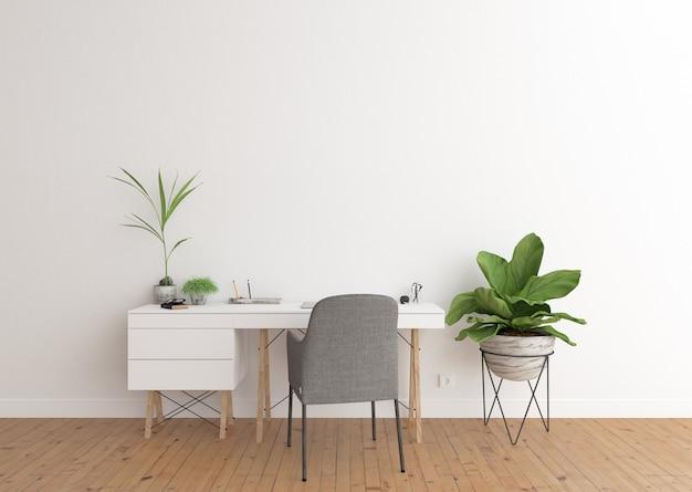 Intérieur du bureau à domicile avec bureau blanc