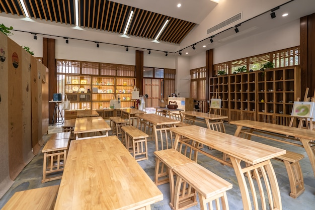 Intérieur du restaurant de l'hôtel design chinois