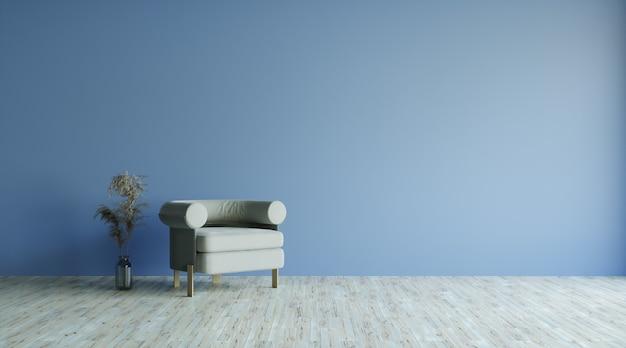 Intérieur du salon avec armcjair gris et plantes, espace de copie, rendu 3d