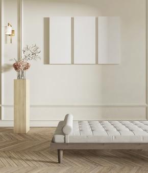 Intérieur du salon avec banc, piédestal et toile vierge