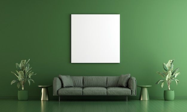 Intérieur du salon et cadre de toile vide sur fond de mur vert