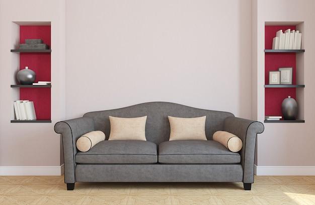 Intérieur du salon avec canapé gris. rendu 3d.