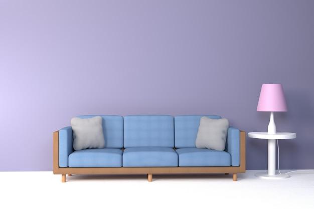 Intérieur du salon. doux canapé et oreiller près de la lampe douce