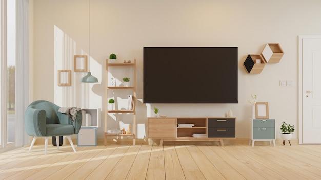 Intérieur du salon maquette avec le rendu 3d du fauteuil blanc coloré