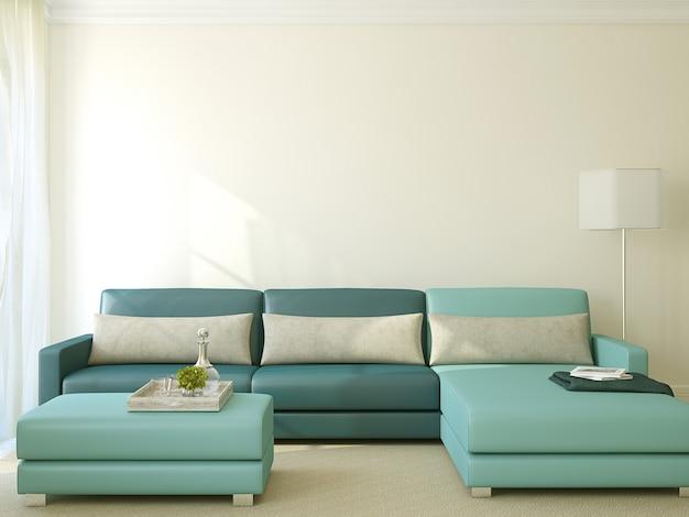 Intérieur du salon moderne avec canapé bleu. rendu 3d.
