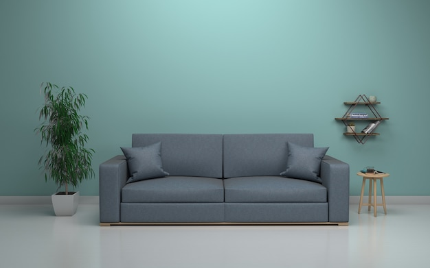 Intérieur du salon moderne avec canapé - canapé et table