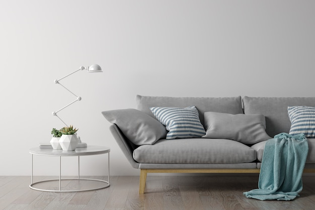Intérieur du salon moderne avec canapé et mobilier rendu 3d