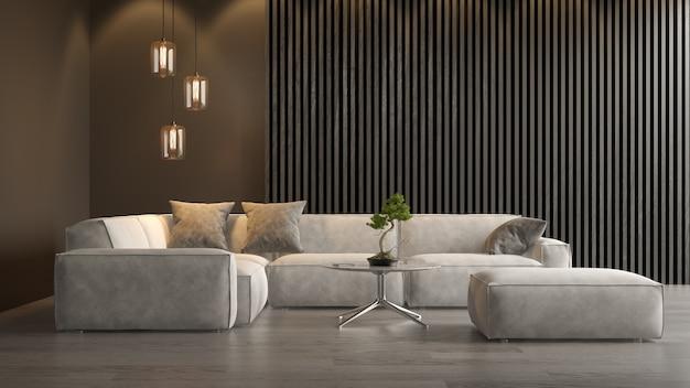 Intérieur du salon moderne avec canapé rendu 3d