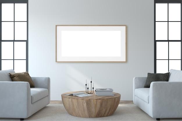 Intérieur du salon moderne. maquette intérieure et cadre. deux armchaira blanc près du mur blanc. rendu 3d.
