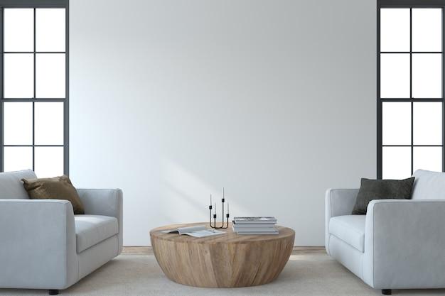 Intérieur du salon moderne. maquette intérieure. deux armchaira blanc près du mur blanc vide. rendu 3d.