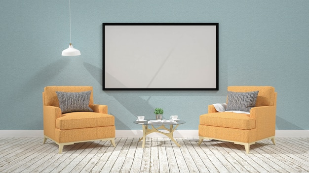 Intérieur du salon moderne avec rendu fauteuilchair.3d
