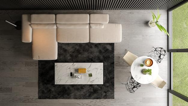 Intérieur du salon moderne vue de dessus rendu 3d