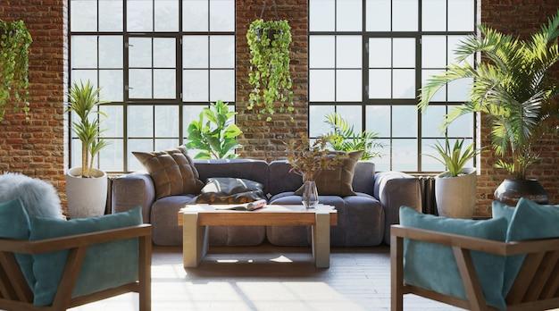 Intérieur du salon avec mur de briques et beaucoup de plantes rendu 3d de style industriel