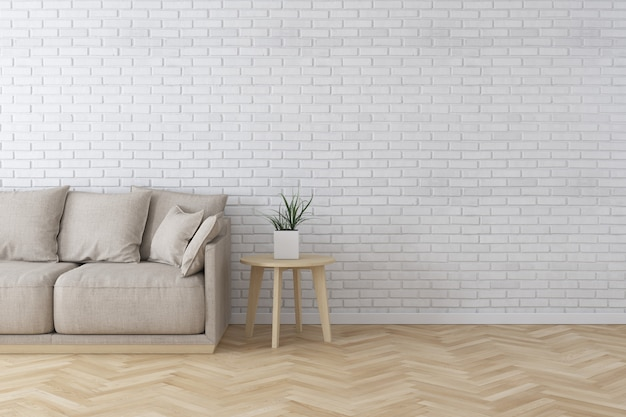 Intérieur du salon de style moderne avec canapé en tissu, table d'appoint et mur de briques blanches sur plancher en bois