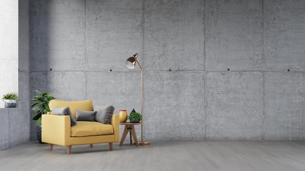 Intérieur du salon avec table en bois, lampes et fauteuil jaune ont un mur de ciment.