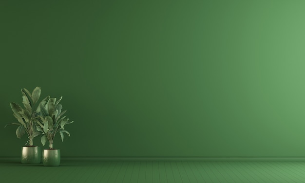 Intérieur du salon vide et fond de mur vert