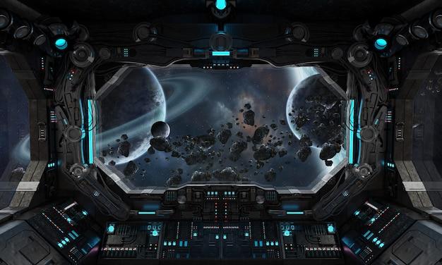 Intérieur du vaisseau spatial grunge avec vue sur une exoplanète