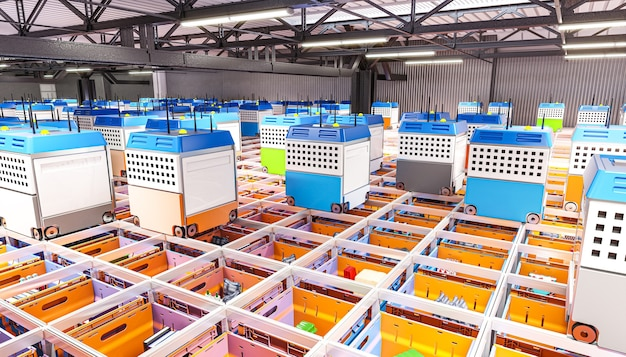 Intérieur d'un entrepôt entièrement automatisé pour la distribution des produits.