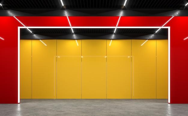 Intérieur de l'espace lofr moderne avec rendu 3d rouge-noir et jaune