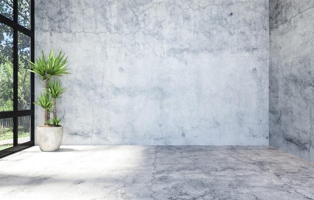 Intérieur d'espace ouvert de salle vide matérielle en béton moderne avec grande fenêtre, rendu 3d