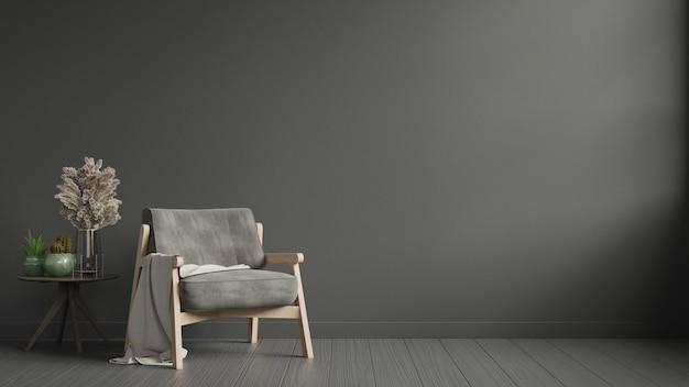 L'intérieur a un fauteuil sur un mur sombre vide