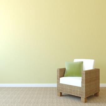 Intérieur avec fauteuil près du mur jaune vide. rendu 3d.
