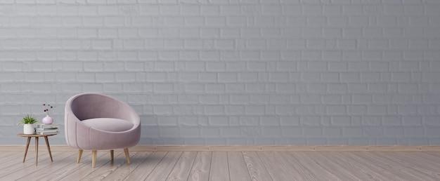L'intérieur a un fauteuil rose avec un mur de maquette vide sombre et un fauteuil beige.