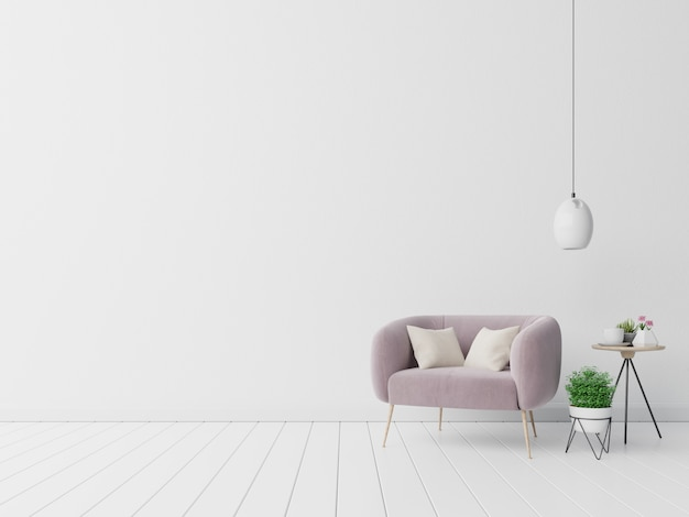 Intérieur avec fauteuil de velours sur mur blanc vide
