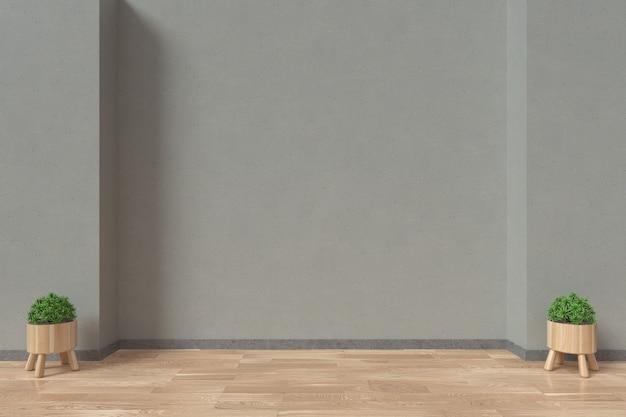 Intérieur avec fauteuils et plantes ornementales sur fond de mur vide